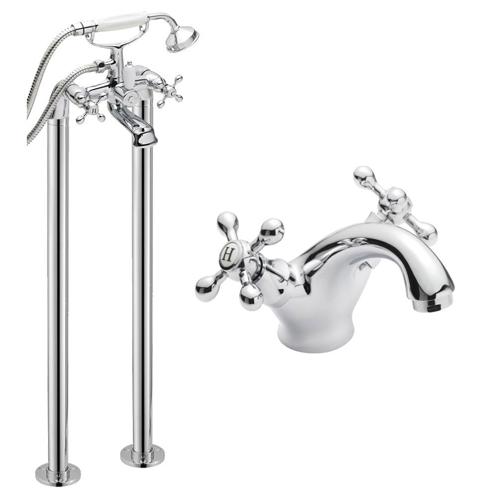 Freestanding Bath Shower Mixer Tap and Wash Basin Mixer Tap With Round Neck and Cross Head Handles Monobloc Traditional Round Design DBS