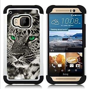 """Pulsar ( Ojos Negro Blanco Fotos Leopardo de invierno"""" ) HTC One M9 /M9s / One Hima híbrida Heavy Duty Impact pesado deber de protección a los choques caso Carcasa de parachoques"""