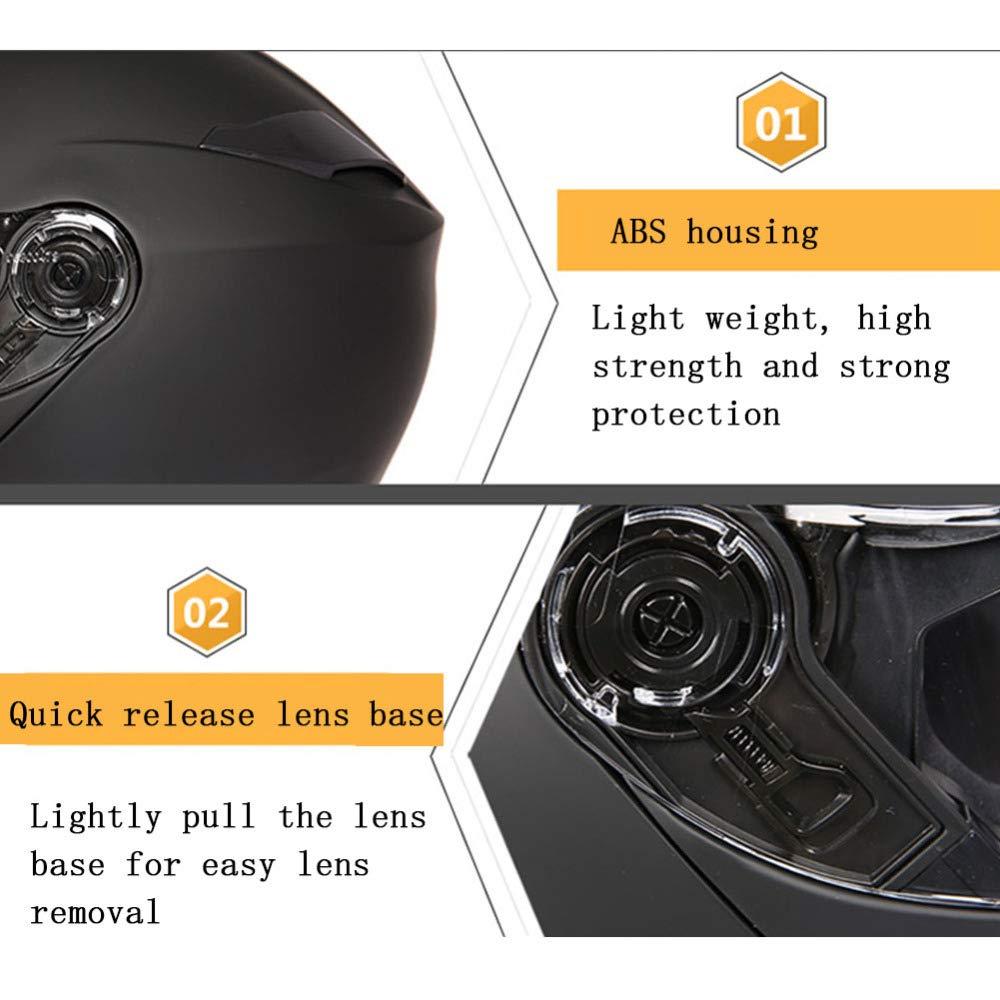 GSDZN Cascos Integrales De Moto Lente Doble HD Anti-Niebla Anti-UV Patr/ón Personalizado Dise/ño Aerodinamico Material ABS De Alta Resistencia,Blue-M