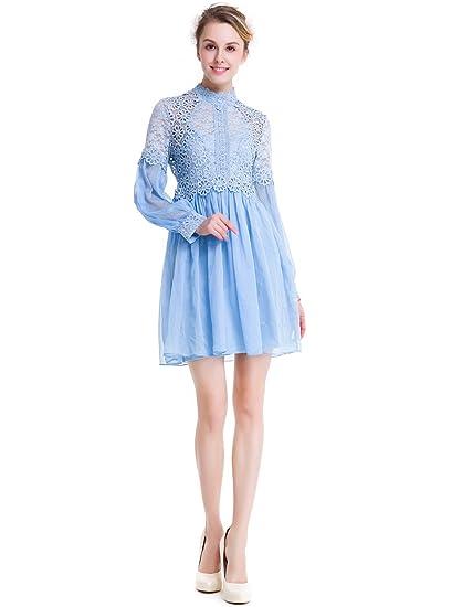 Suoqi Women A Dresses Lace Turtleneck Long Sleeve Bridesmaid Prom
