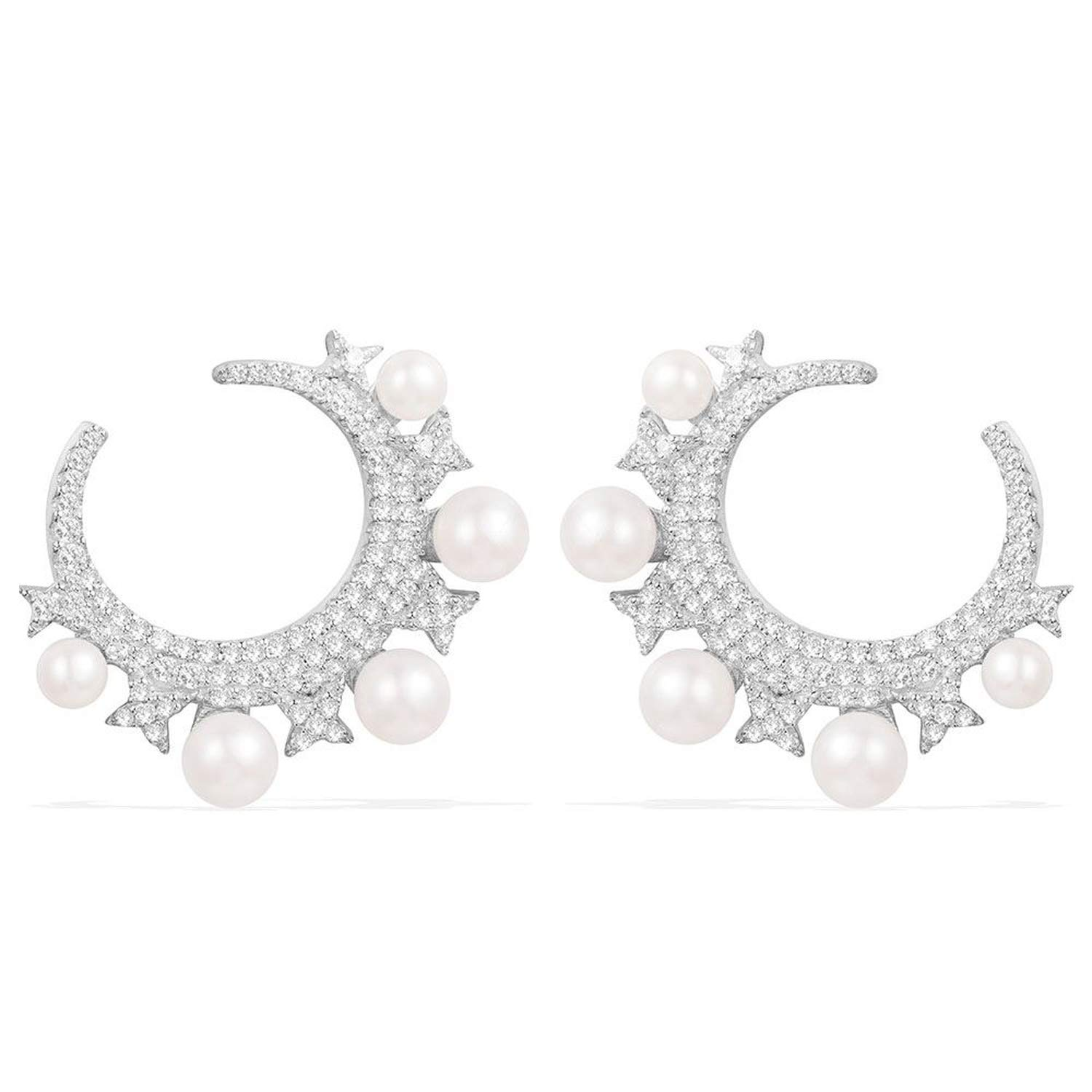 New 925 Sterling Silver Moon Earrings With Pearls Gifts Moroccan Style and Modern Classic Jewelry
