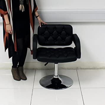 Quilted Styling Chair   Black