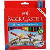 Faber-Castell Watercolor Pencils With Sharpener And Brush, 48 Watercolored Pencils Set