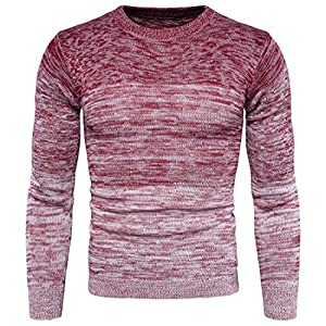 AOWOFS Men's Pullover Sweater Slim Fit Fashion Casual O-Neck Gradient Color Warm Knitted