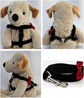"product image for Diva-Dog 'Red Bow Tie' Custom 5/8"" Wide Velvet Dog Step-in Harness with Plain or Engraved Buckle, Matching Leash Available - Teacup, XS/S"