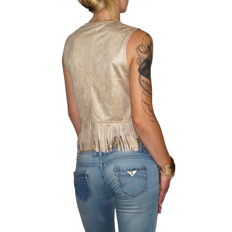 862809e2d50e07 Dresscode-Berlin DB Damen Weste im Boho Wildleder Look mit Fransen in Camel,  Rose und beige (S, Beige): Amazon.de: Bekleidung