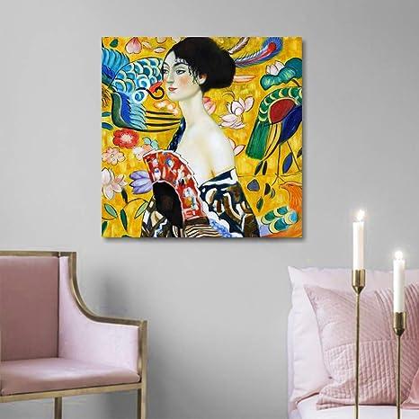 Klimt Donna con ventaglio, Quadro Moderno 50 x 50 cm Stampa su Tela ...