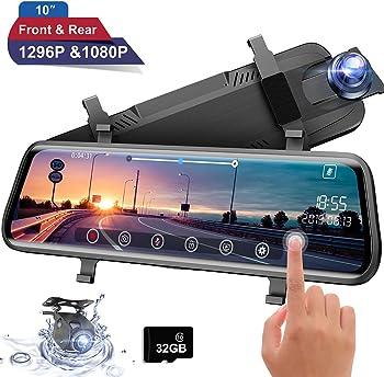 Moucit Rear View Mirror Dual Dash Cam + Free 32GB SD Card