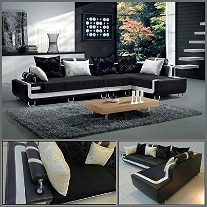 Divano soggiorno 180x350 cm angolare nero bordo bianco cuscini ...