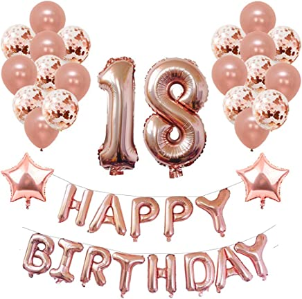 Yoart 18th Birthday Decorations Rose Gold for Women and Girl Party Supplies 39 Piece with Happy Birthday Banner Confetti Latex Balloons Star Foil Balloons