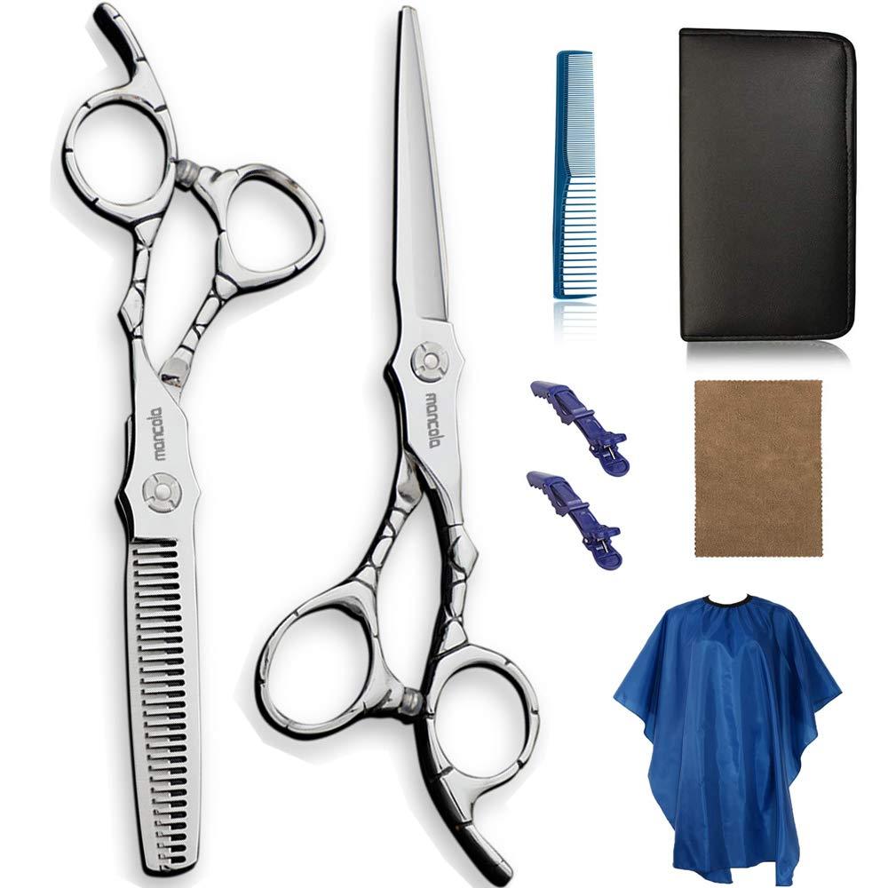 Mancola Professional Home Hair Cutting Kit 6 Inch Hair Thinning Scissors Cutting Teeth Shears Barber Hairdressing Texturizing Salon Razor Edge Scissor Japanese Stainless Steel (MAN-60440CAR)