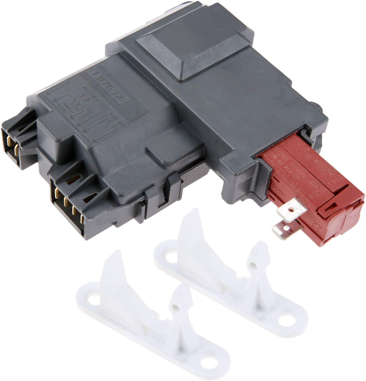 131763202 Washer Door Lock Switch Assembly, Replace # 131269400, 131763200, AH2367737 & 131763310 Door Striker, Replace # 1032664, 131763300, AP3580441, Compatible with Frigidaire Whirlpool Kenmore 61SMb1sRKFL