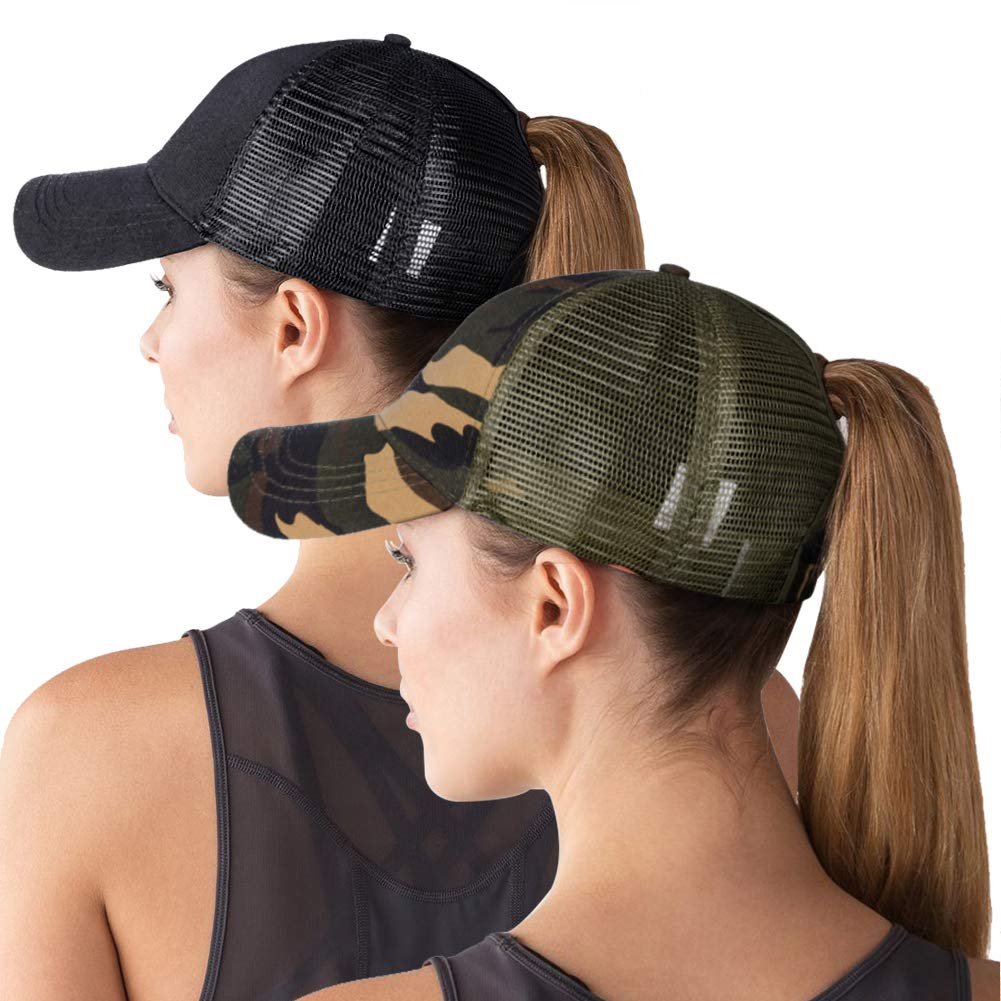 ZOORON High Ponytail Baseball Hat Cap for Women [2 Pack], Messy Bun Trucker Hat Ponycap Dad Hat Golf Sun Hat