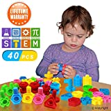 FIOLOM Jumbo Nuts Bolts Toddler Toy, Occupational Therapy Autism Stem Toy Enlighten Motor Skill Construction Toy Set Educational Learning Activities Kids, Preschool 3+ Year olds 40 PCS