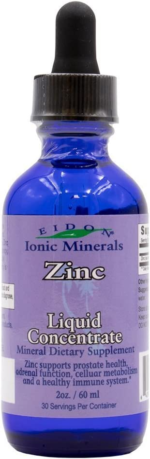 Eidon® Ionic Minerals Zinc Supplement Concentrate 2 oz. Glass Dropper Boosts Immune System and Mood Relieves Stress: Health & Personal Care
