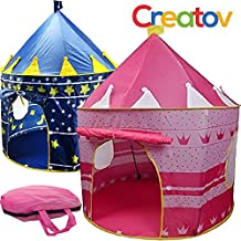 Children Play Tent Girls Pink Castle for Indoor/Outdoor Use With Glow in the Dark Stars Foldable with Carry Case - Creatov