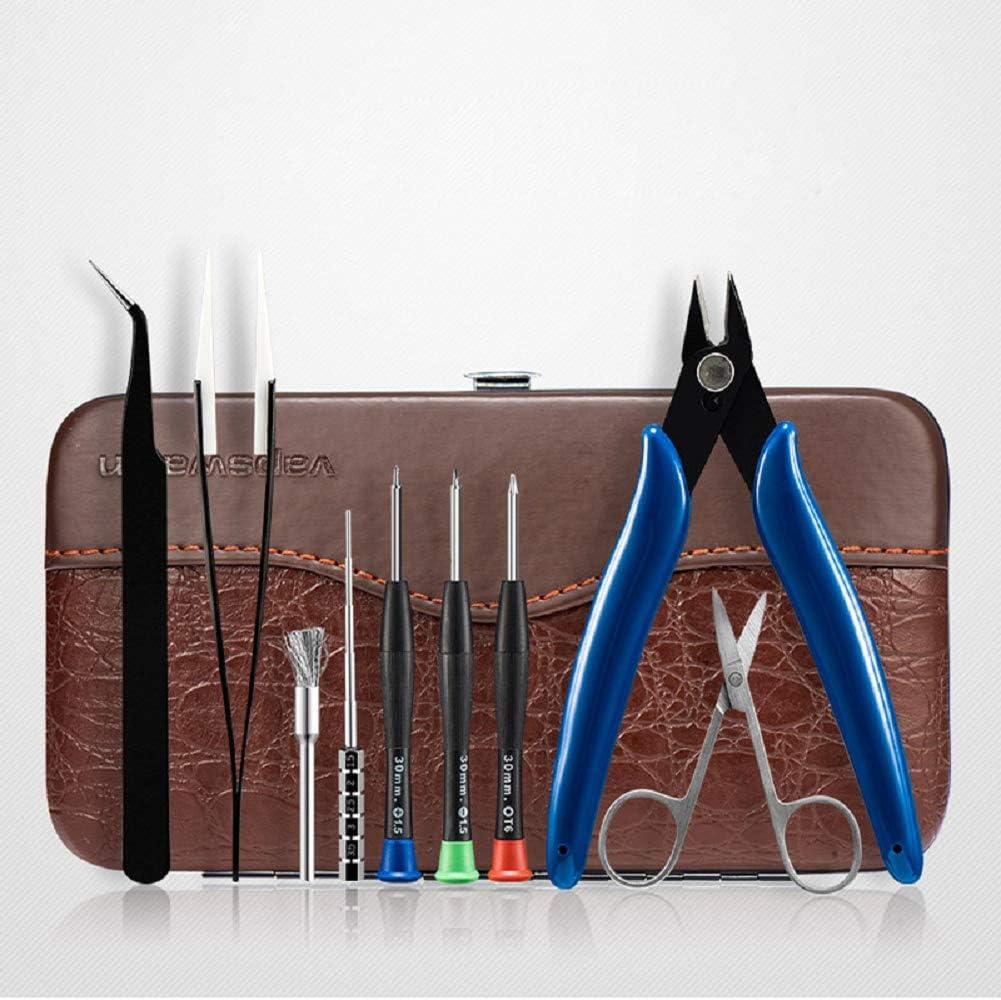 Vape Accessories - Kit de herramientas 9 en 1 para cigarrillos electrónicos con caja de almacenamiento de cuero