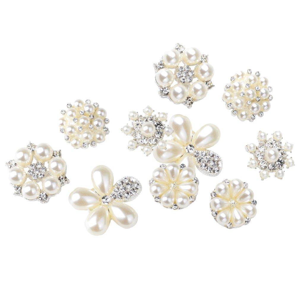 10pcs Assorted Rhinestone Pearl Buttons Flatback Embellishment Wedding Decor
