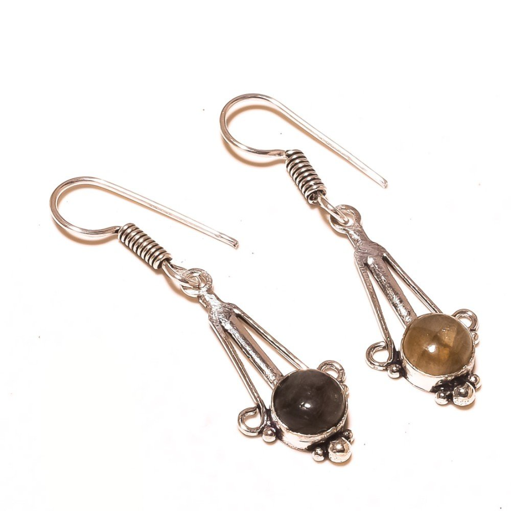 Stunning Black Labradorite Sterling Silver Overlay 5 Grams Earring 1.75 Long