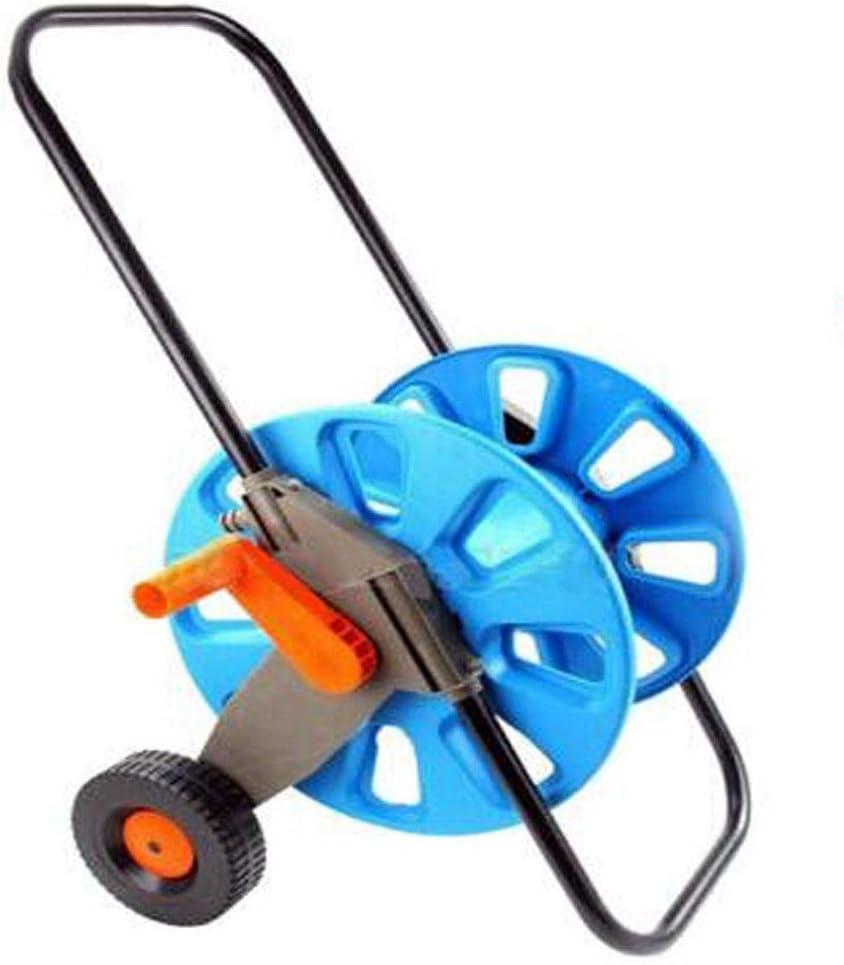 Jielongtongxun001 水ホース収納ラック、洗車ホース収納カート、車輪付きホース巻き取りリール、庭の散水用水トラック(銅のジョイント、コンジット2mを提供),耐摩耗性 (Color : Blue, Size : 87*29cm)