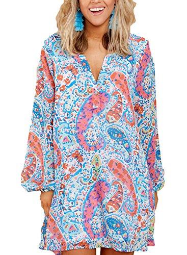 Asvivid Womens Bohemian V Neck Floral Print Long Sleeve Beach Cover Ups Chifon Mini Dress L Floral22