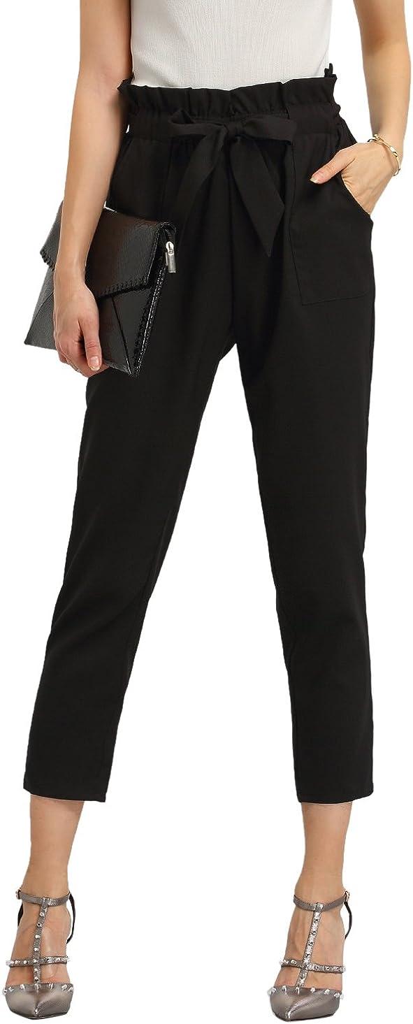 SweatyRocks Women's Elastic Belted High Waist Casual Loose Long Pants with Pocket
