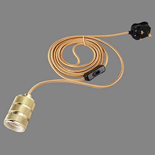 ONEPRE 3 Meters Of 3 Core Gold Fabric Cable Plug In Pendant - 3 Switch Light Fitting