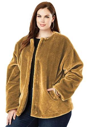 5185c0c965b Roamans Women s Plus Size Faux-Fur Jacket at Amazon Women s Clothing store