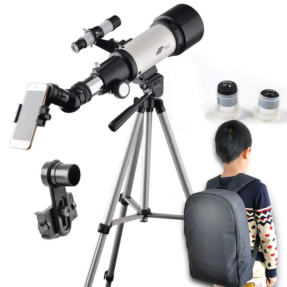 Telescope 70mm Aperture 400mm AZ Mount Astronomical Refractor Portable Telescope for Kids and Beginners with Backpack,10mm Eyepiece Phone Adapter to View Moon and Planet