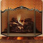 Amagabeli 3 Panel Floral Wrought Iron Fireplace Screen Bronze Metal Mesh Safety Proof Fire Screen Decorative Fire Place Screen from Amagabeli