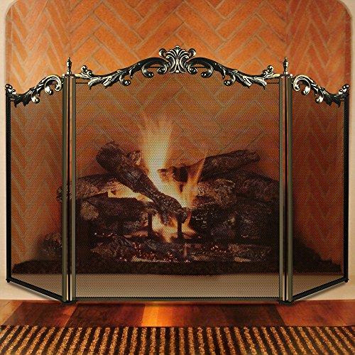 Amagabeli 3 panel floral wrought iron fireplace screen bronze metal amagabeli 3 panel floral wrought iron fi teraionfo