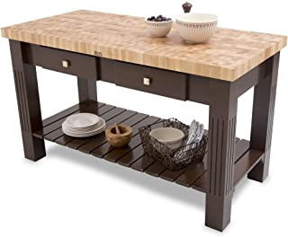 "product image for John Boos End-Grain Maple Grazzi Table - 60"" x 28"" x 2.25"" Butcher Block Top, Slate Gray Base"