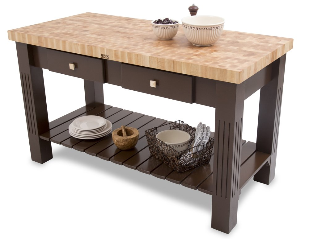 "John Boos End-Grain Maple Grazzi Table - 60"" x 28"" x 2.25"" Butcher Block Top, Natural Maple Base"