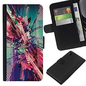 iBinBang / Flip Funda de Cuero Case Cover - City Vortex Teal Pink Art - Sony Xperia Z2 D6502 D6503 D6543 L50t