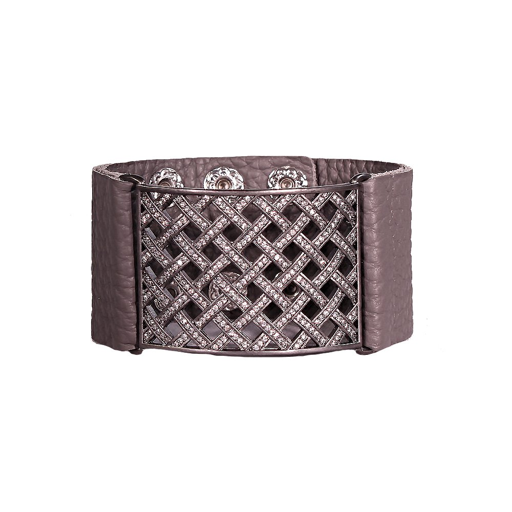 Womens Leather Bracelet, w/ Gunmetal Plating and Swarovski Crystals - Ladies Jewelry – Grey