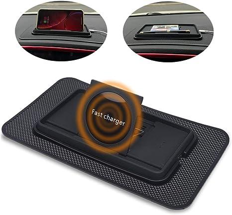 Amazon.com: Cargador Qi inalámbrico rápido para coche ...