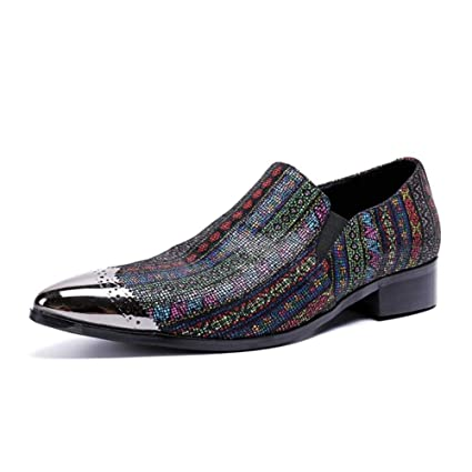 HNM Shoes Hombres Zapatos Cuero Mocasines Oxford Negro Ponerse Puntiagudo Boda Noche Negocio Vestido Zapatos Talla