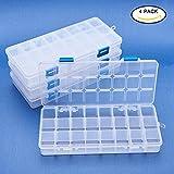 BENECREAT Jewelry Dividers Box Organizer Adjustable Clear Plastic Bead Case Storage Container