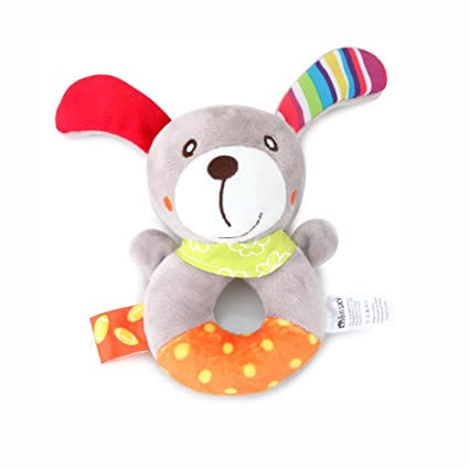 Ndier Anillo de bebé Juguete de sonajero Bebé Waggles Peluche de Felpa Perro de Mascota Anillo Suave Sonajero