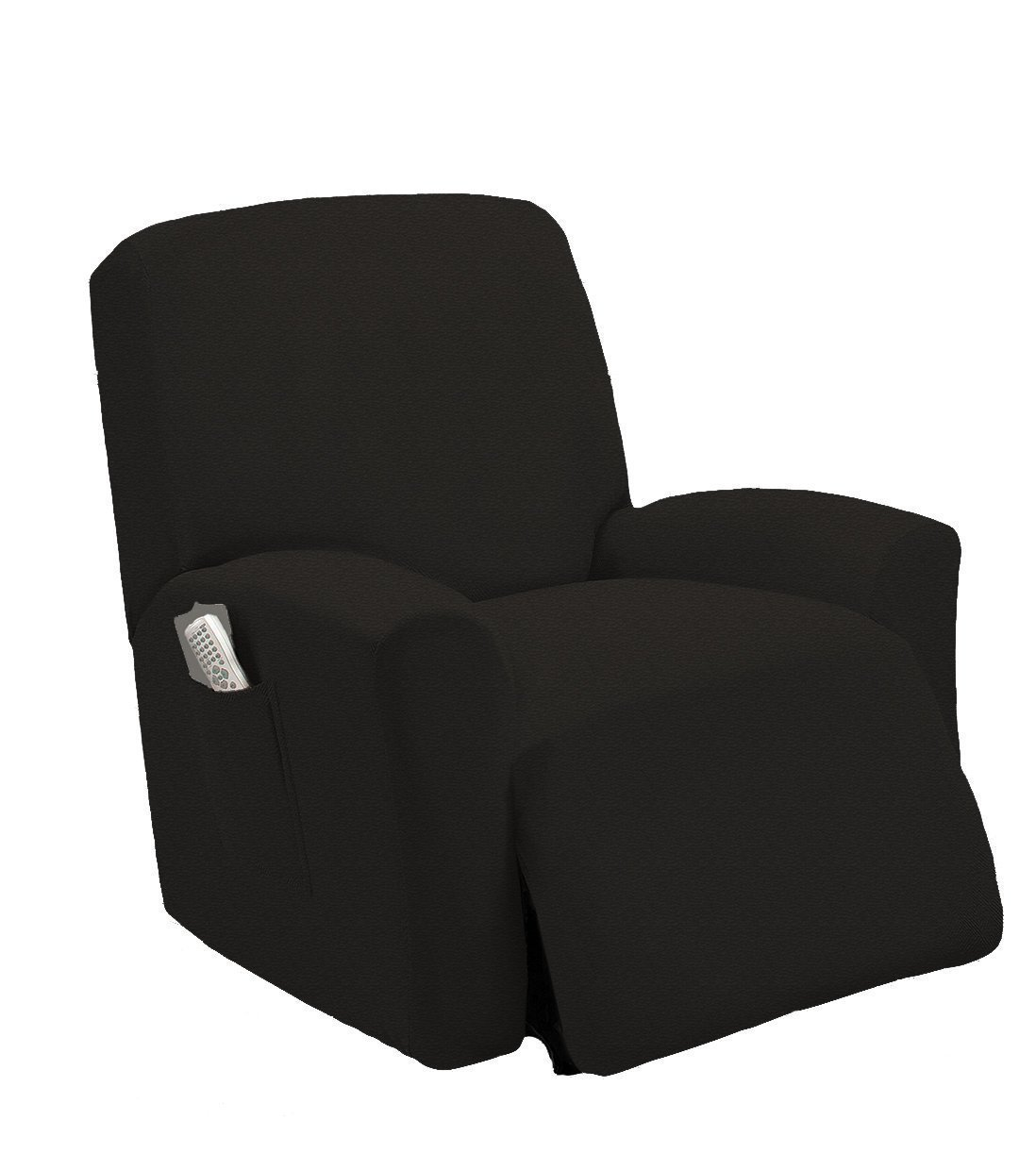 (Black) - Elegant Home One piece Stretch Sterling Recliner Chair Cover Furniture Slipcovers with Remote Pocket Fit most Recliner Chairs Stella (Black)   B078PJ4RBR
