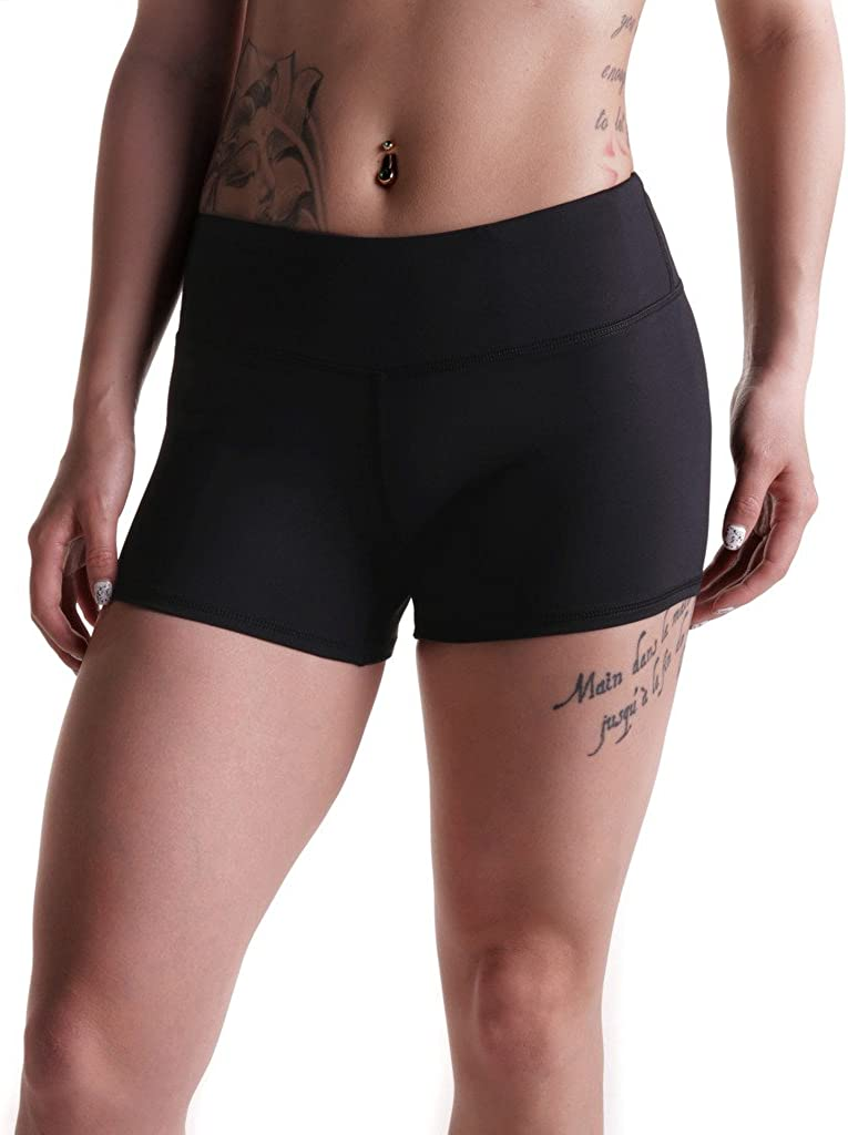 """Tough Mode Apparel Womens 3"""" Athletic Workout Volleyball Crossfit Running WOD Shorts"""