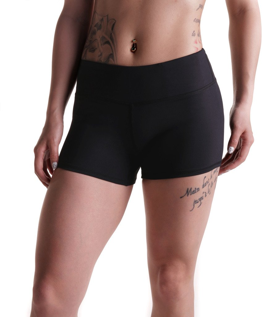 Womens 3'' Compression Wod Shorts Yoga Running Volleyball Crossfit Booty White Black Full Sizes by Tough Mode
