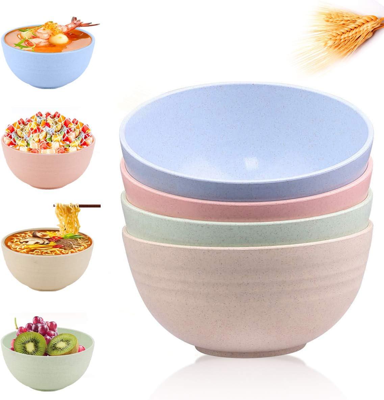 Cereal Bowl Large, 24 OZ Ramen, Dessert, Salad Bowls Set of 4, Soup, Rice, Breakfast, Snack, Noodle, Fruit, Plastic Bowls for Kitchen, Microwave Safe Bowls, Wheat Straw Dinnerware Sets, Dinner Bowls