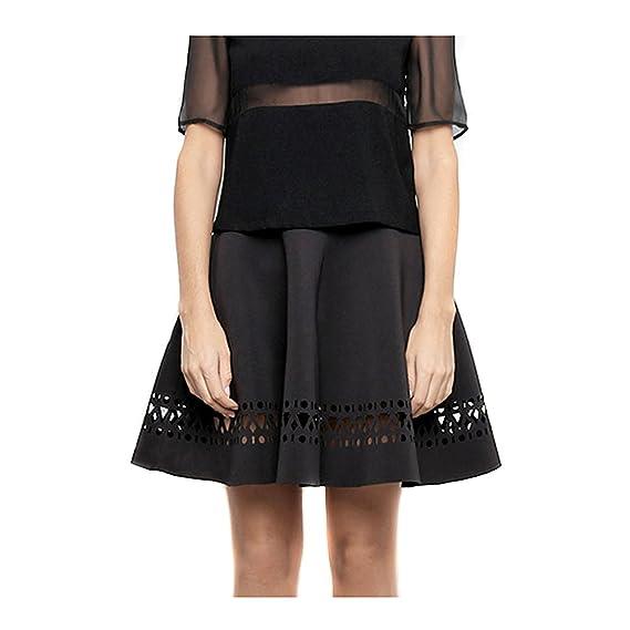 FILARPRIM - Falda midi negra con troquel de neopreno talla m ...