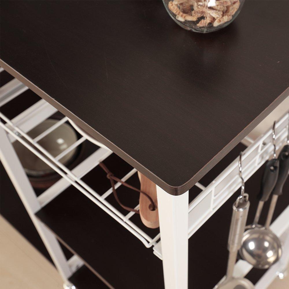 Mixcept Multi-purpose 3-tier Kitchen Baker's Rack Utility Microwave Oven Stand Storage Cart Workstation Shelf W5S-BK-MI (Black) by Mixcept (Image #7)