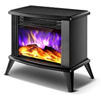 Electric Fireplace Stove, Portable Freestanding Fireplace, Realistic Flame and Logs Vintage Design for Home and Office…