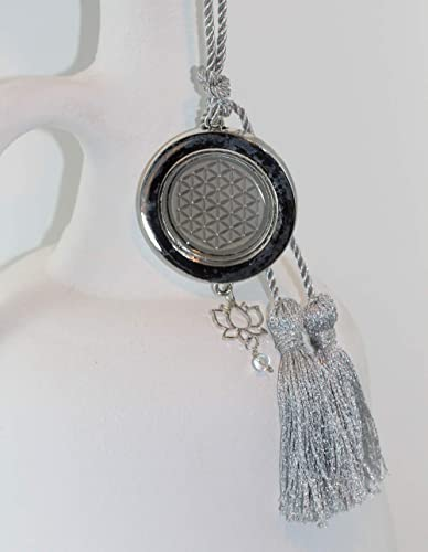 INaCHI Halskette 8-513 Blume des Lebens Lebensblume Symbol Schmuck Silber Grau Damen Energie Schmuck Quasten Kette Lang Glück