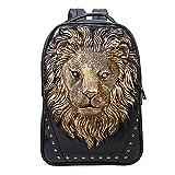 Mery Wa Unisex 3D Lion Print Backpack PU Leather Rucksack Shoulder Bag College Laptop Bag,Gold