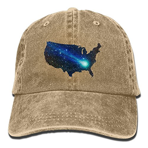 [Men Women USA Map With Meteor Denim Fabric Adjustable Baseball Cap] (Meteor Man Halloween Costume)