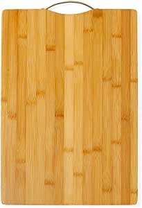 "AKOZLIN Thick Bamboo Cutting Board for Kitchen with Handles,Heavy Duty Chopping Board for Meat/Vegetables Fruits Serving Tray, Butcher Block, Carving Board(12.6""×8.66"")"